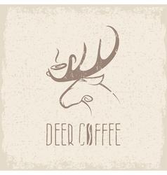 Deer coffee negative space concept grunge design vector