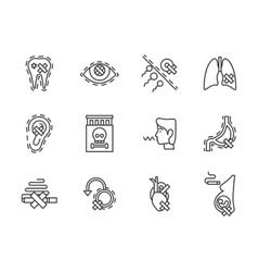 Harm of smoking black line icons set vector