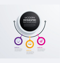 abstract 3 circle infographics number options vector image vector image