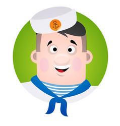 avatar cheerful sailor a cartoon portrait of a man vector image vector image