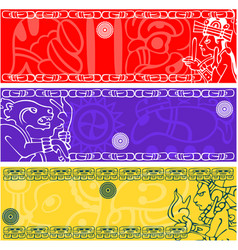 Banners with ancient american ornaments vector
