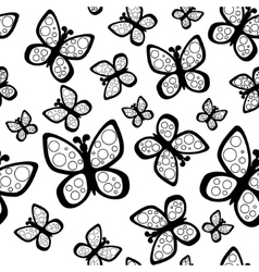 Beautiful seamless butterflies pattern in black vector image