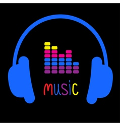 Blue headphones equalizer and colorful word Music vector image vector image