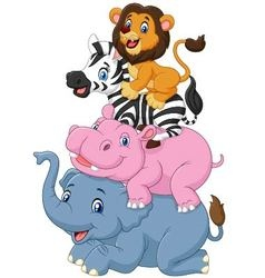 Cartoon funny animal standing on top of each other vector image