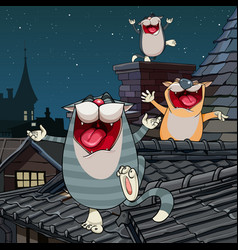 cartoon funny cats yelling on the roof at night vector image