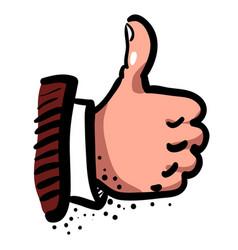 Cartoon image of thumb up icon good symbol vector