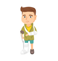 caucasian sad injured boy with broken arm and leg vector image