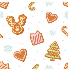 Christmas seamless pattern gingerbread cookies vector