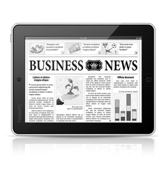 Concept - Digital News Tablet PC with Newspaper vector image vector image