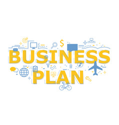Creative of business plan word letter vector