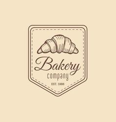 croissant logo vintage bakery iconretro emblem vector image vector image