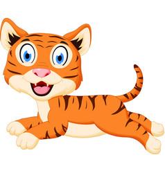 Cute tiger cartoon jumping vector