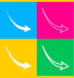 Declining arrow sign four styles of icon on four vector