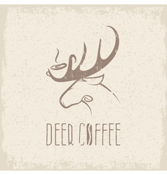 Deer coffee negative space concept grunge design vector