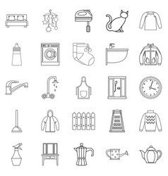 Dormitory icons set outline style vector