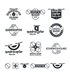 Drone or quadrocopter set of badges vector