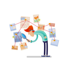Financial analyst with magnifying glass vector
