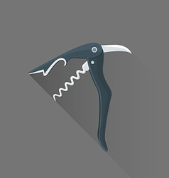 flat style black sommelier knife icon vector image