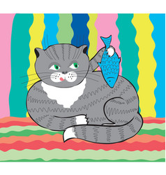 Funny cat with fish vector