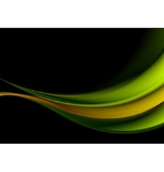 Green and orange waves on black background vector