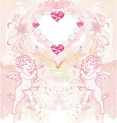 happy valentines day vintage card with cupids vector image vector image