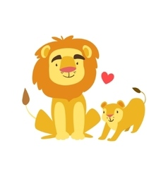 Lion dad animal parent and its baby calf vector