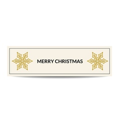 Merry christmas banner with golden snowflake vector