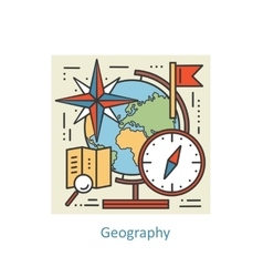 Modern color thin line concept of geography for vector image