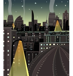 Night cityscape cartoon vector