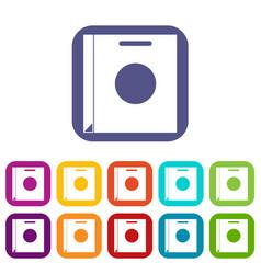 Paper bag icons set flat vector