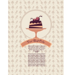 Patterned cover for your dessert menu with cakes vector