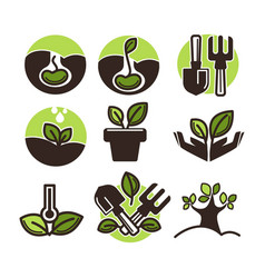 plant and tree sprout icons set for vector image