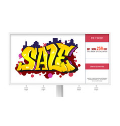 sale ad banner on the billboard graffiti style vector image vector image