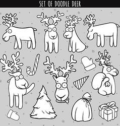 Set deer doodle different poses for design deer vector