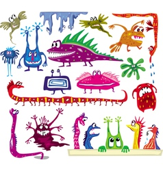 set of colored cartoon monsters vector image