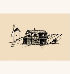 sketch of village with windmill fields and vector image vector image