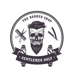 skull barber shop logo retro vintage template vector image