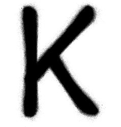 Sprayed k font graffiti in black over white vector