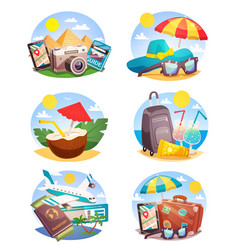 summer holiday compositions set vector image vector image