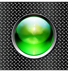 Techno background with glossy button metal banner vector