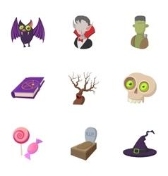 Terrible holiday icons set cartoon style vector