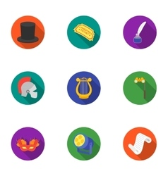 Theater set icons in flat style big collection of vector
