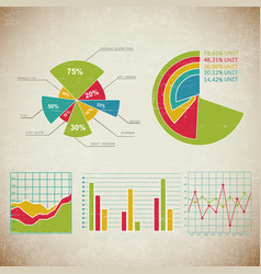 vintage chart set infographic vector image vector image
