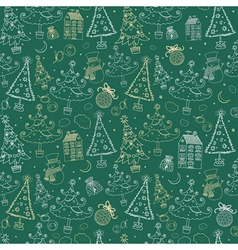Vintage Christmas Doodle Pattern vector image