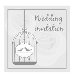 Wedding invitation card icon gray monochrome style vector