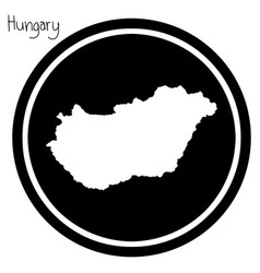 White map of hungary on black circle vector