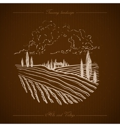Tuscany landscape hand drawn vector