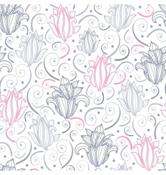 Gray and pink lily lineart seamless pattern vector