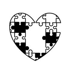 heart puzzle solution monochrome vector image