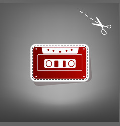 Cassette icon audio tape sign  red icon vector